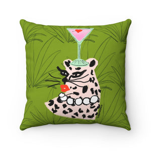 Pink Leopard Cocktail Party Square Pillow