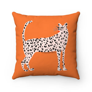 Pink Leopard Square Pillow
