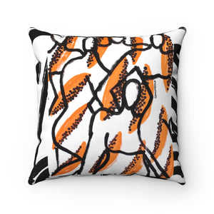 Papaya Figures Square Pillow