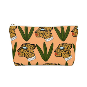 Glam Cheetah In Leaves Pouch