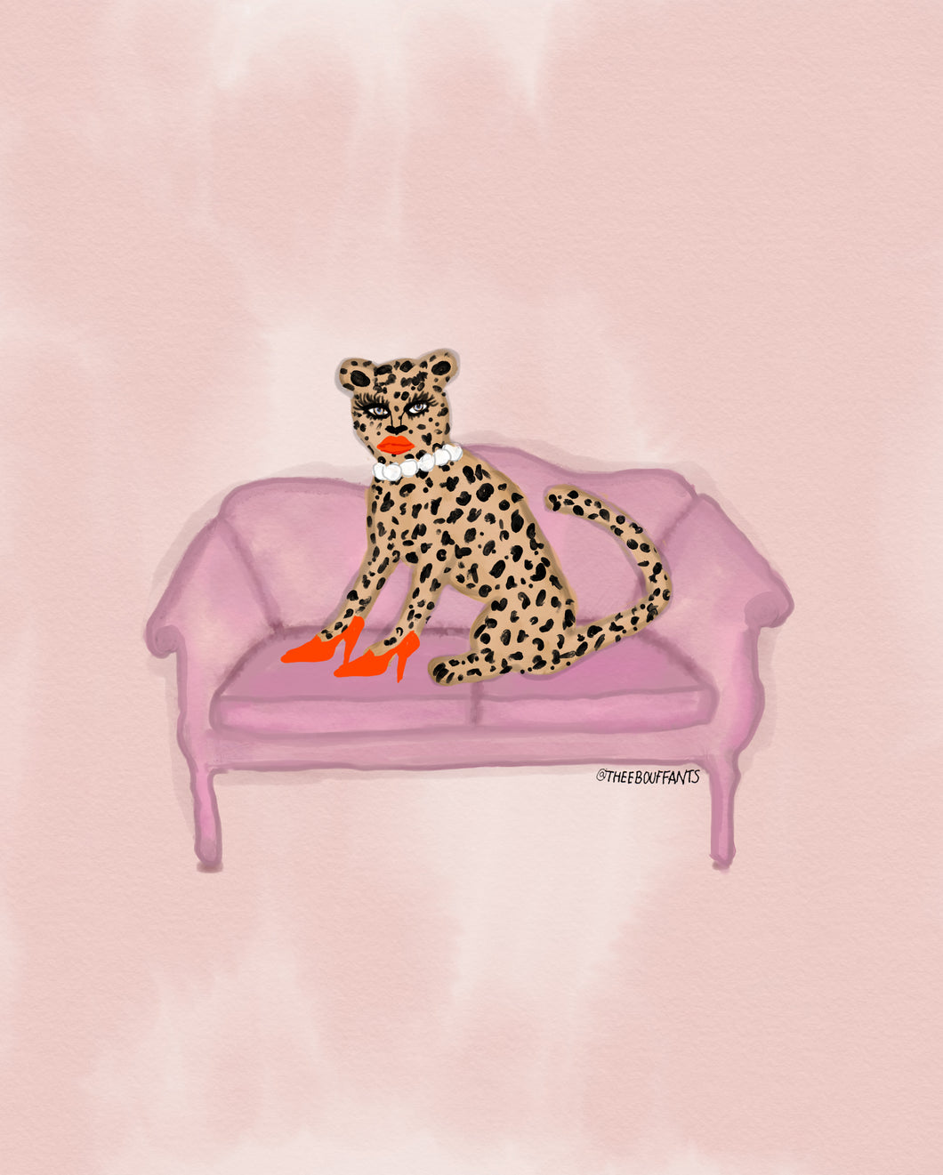 Cheetah On The Couch Print