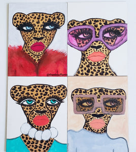 Cheetah in Purple Shades Original Mini Painting