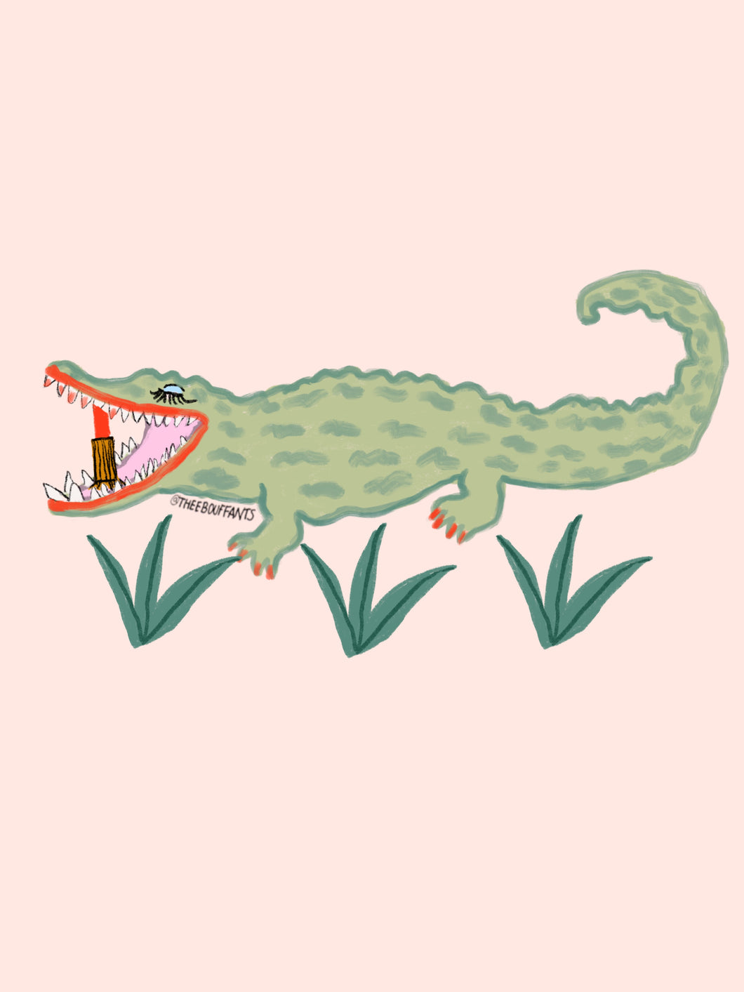 Crocodile Eating Lipstick Print