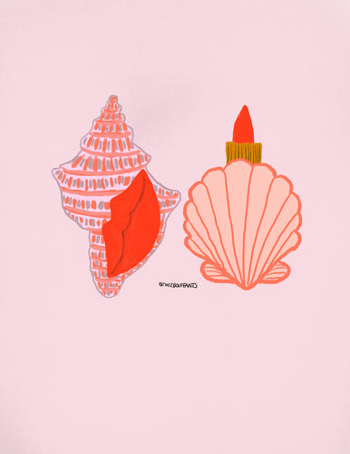 Shells and Red Lipstick Print