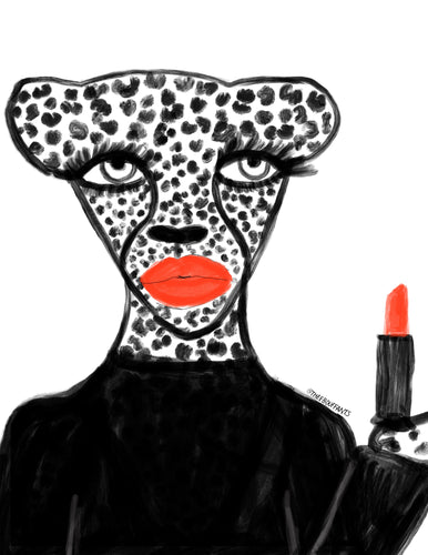 Red Lipstick Cheetah Print
