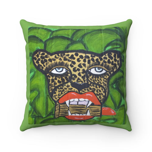 Cheetah With Lipstick Square Pillow