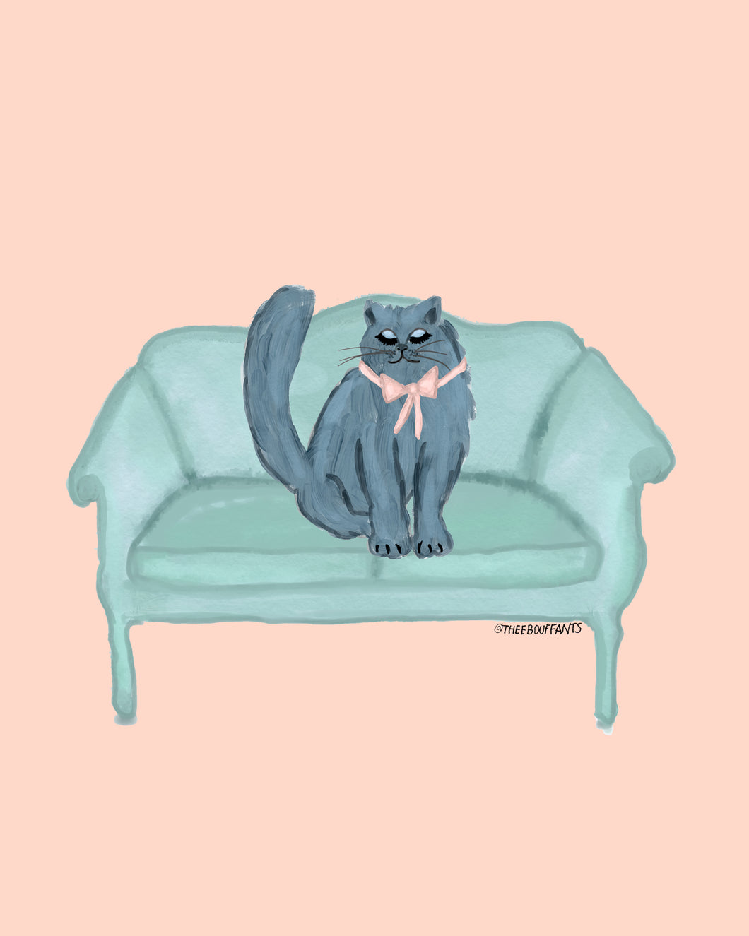 Cat On Mint Couch Print