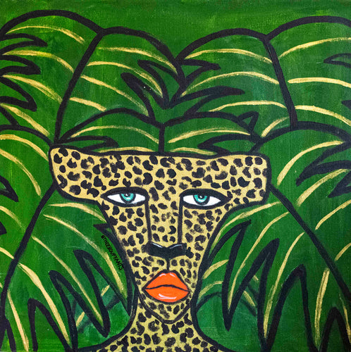 Cheetah On Green Leaves Original Painting