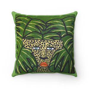 Cheetah On Green Leaves Square Pillow