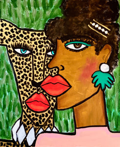 Lady and the Cheetah Original Painting