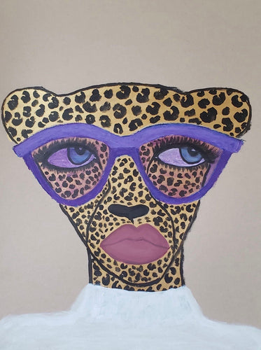 Purple Shades Cheetah Original Drawing
