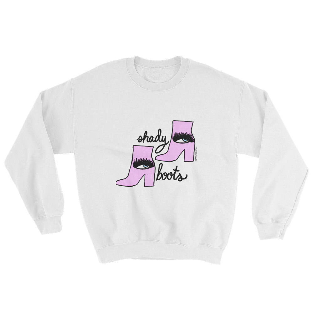 Shady Boots White Sweatshirt