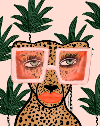 Tropical Glam Cat Print