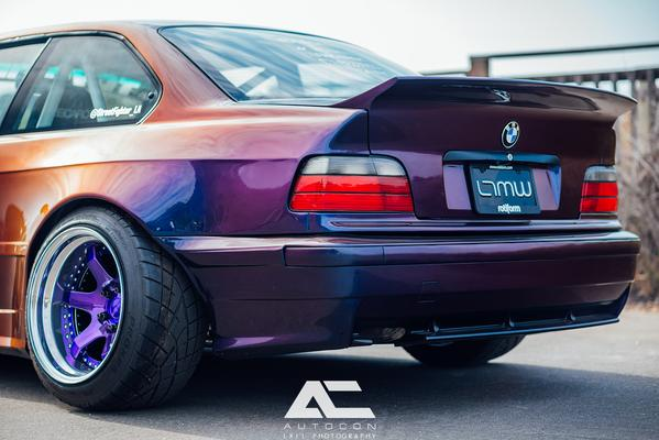 back angled shot of BMW E36 with Custom Rear Spoiler