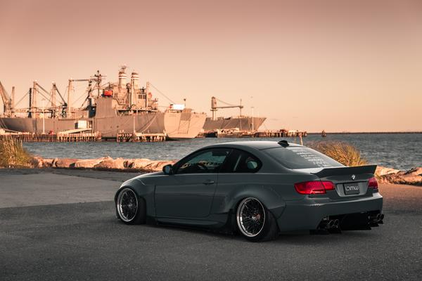 side rear angled view of BMW E92 with Custom Wide Body Kit