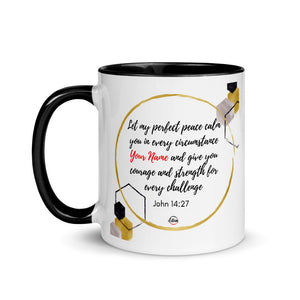 John 14:27 Personalized Mug with Color Inside
