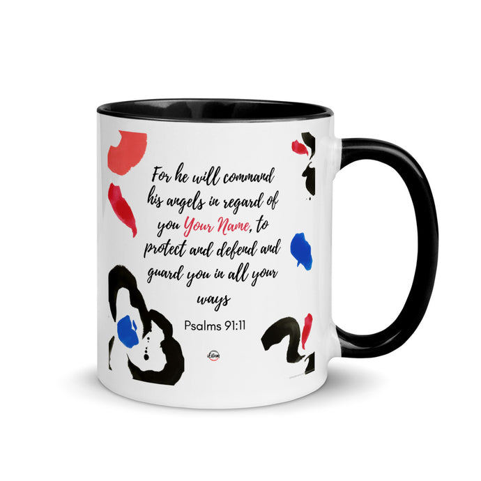 Psalm 91:11 Personalized Mug with Color Inside
