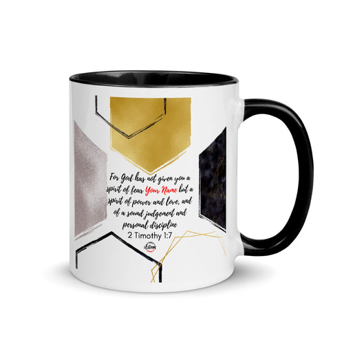 2 Timothy 1:7 Personalized Mug with Color Inside