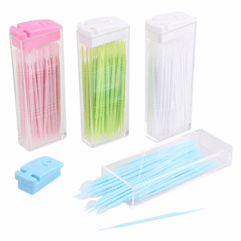 Double Head 50pcs/box Dental Floss Toothpick