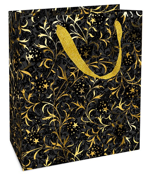 Gjafapoki 18x21x8cm golden ornament black