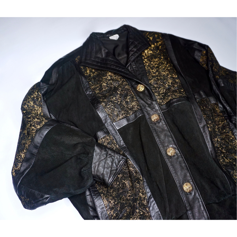 Gold Suede & Leather Patch Jacket