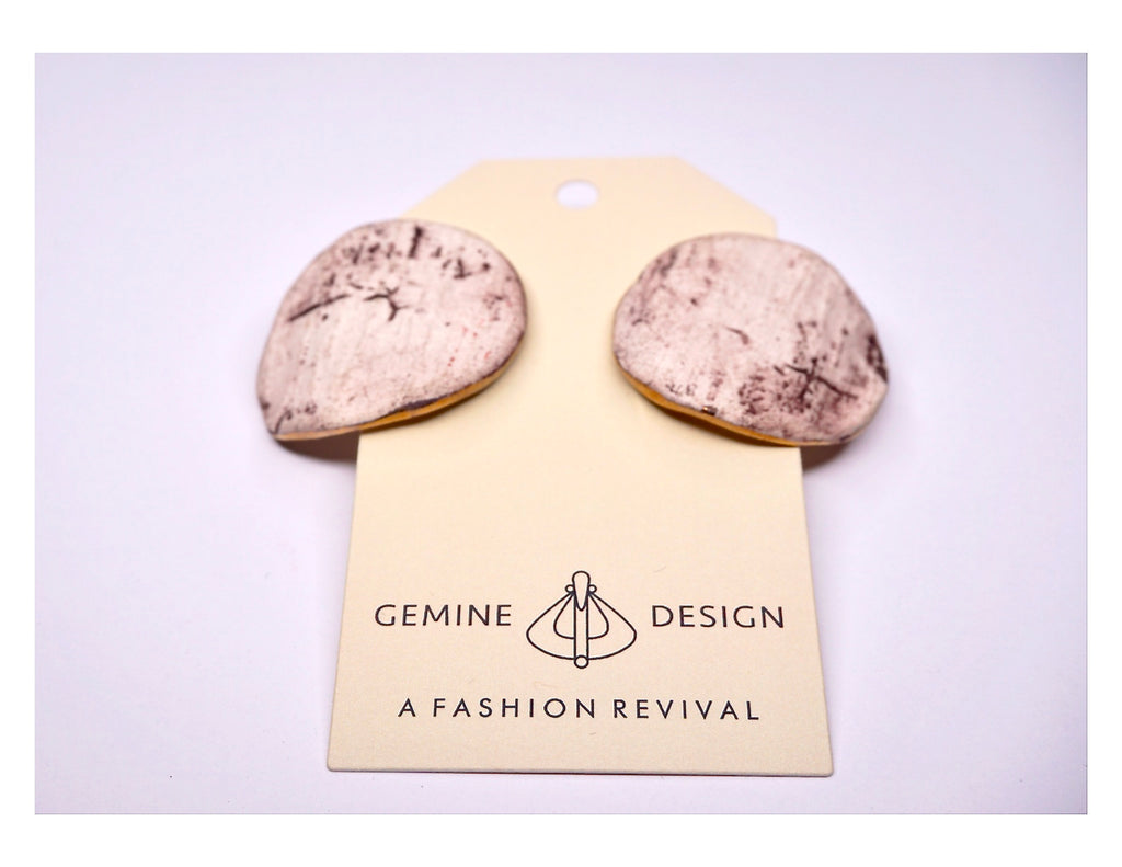 Raw Stone and Gold Foil Earrings