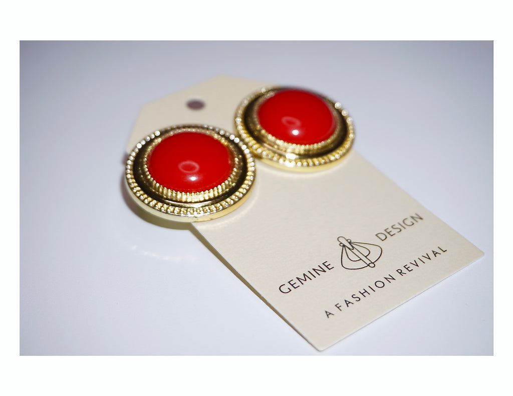Vintage Red Burst Costume Earrings