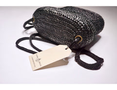 Vintage Black Straw PillBox Purse