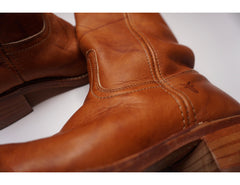 Frye Leather Womens  Campus Boots Rounded Square Toe Boots
