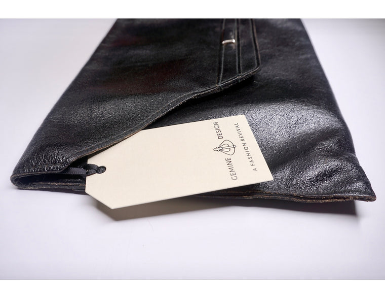 Large Black Leather Envelope Clutch