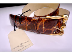 Patent Crocodile Leather Belt