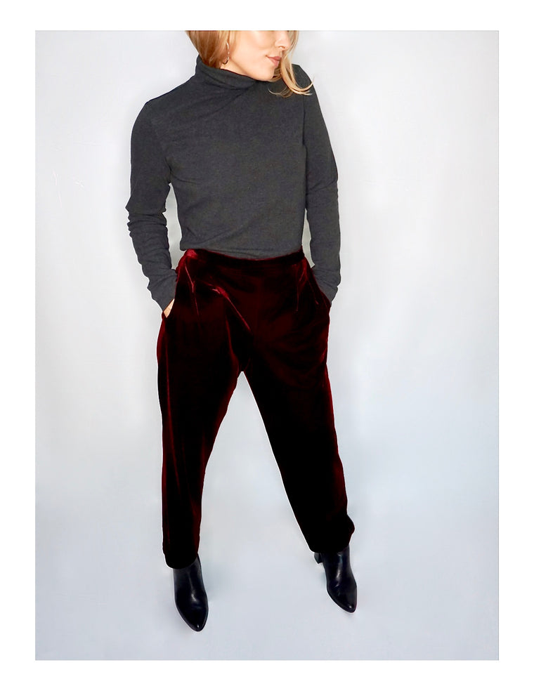 Burgundy Velour Dress Pant