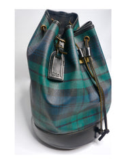 Vintage Polo Ralph Lauren Black Watch Plaid Leather  Bucket Bag