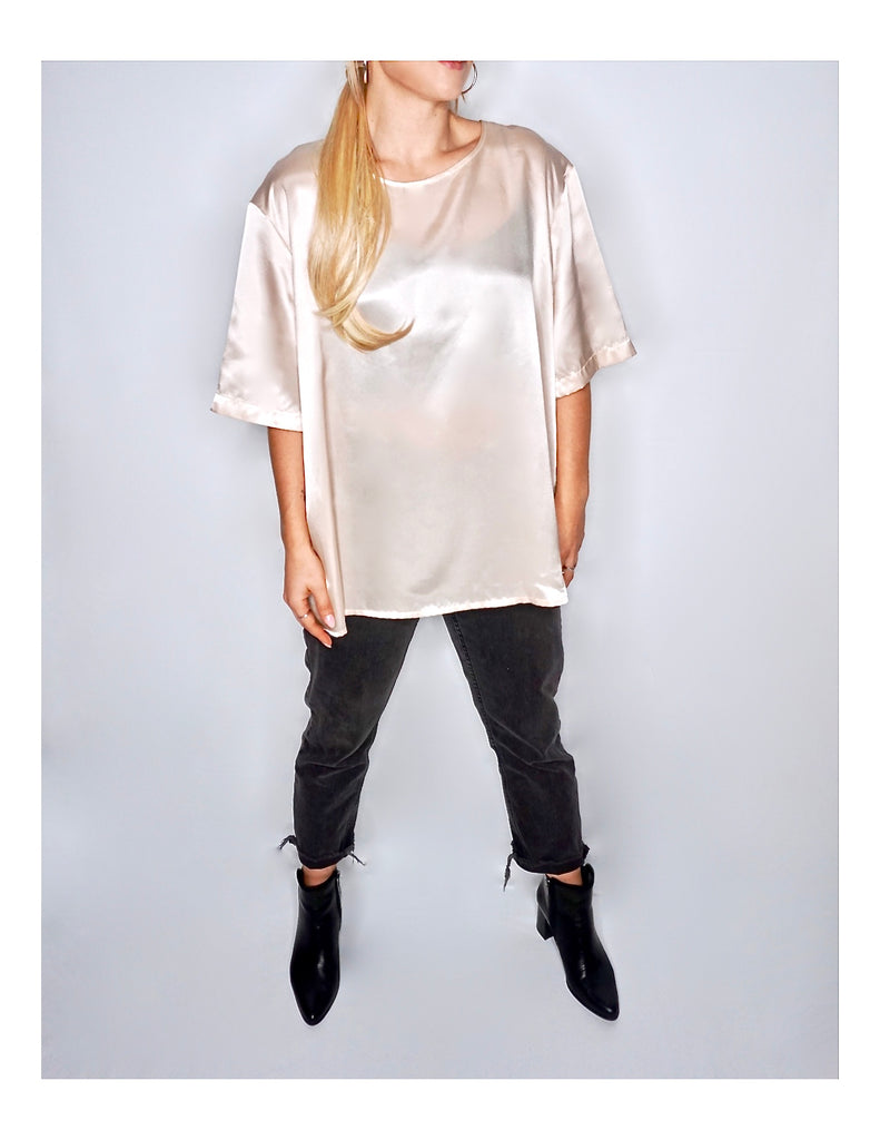 Oversized Ployester Short Sleeve Satin blouse - Champagne.