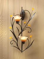 AMBER LILIES CANDLE WALL SCONCE, , The Decor Source, The Decor Source