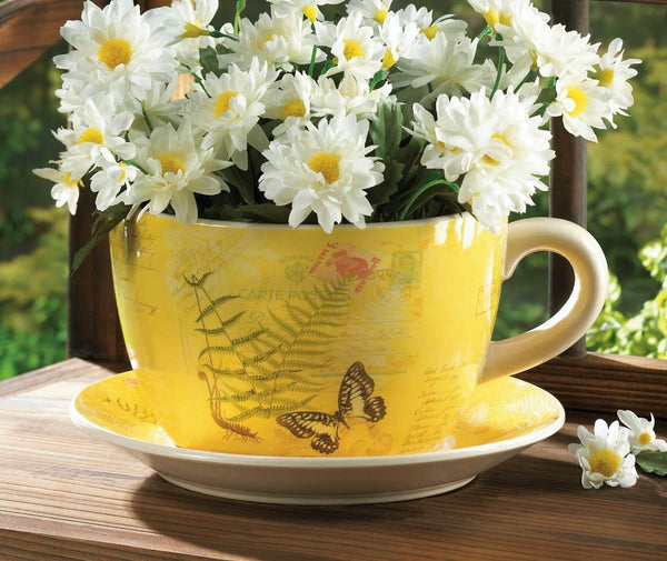 GARDEN BUTTERFLY TEACUP PLANTER, , The Decor Source, The Decor Source