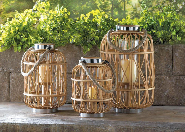 SMALL WOVEN RATTAN CANDLE LANTERN, , The Decor Source, The Decor Source