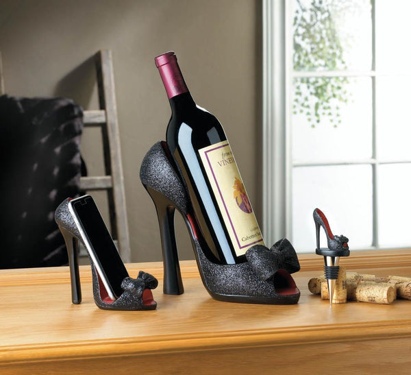 BLACK PEEP TOE SHOE WINE BOTTLE HOLDER, , The Decor Source, The Decor Source