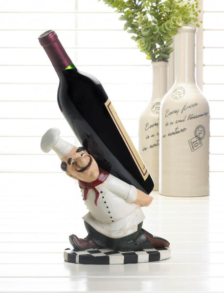"ITALIAN CHEF'S BACK BOTTLE HOLDER-The Decor Source-8"" x 4⅜"" x 8½"" high.-Polyresin.-The Decor Source"