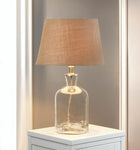 CLEAR RIPPLE GLASS BOTTLE TABLE LAMP, , The Decor Source, The Decor Source