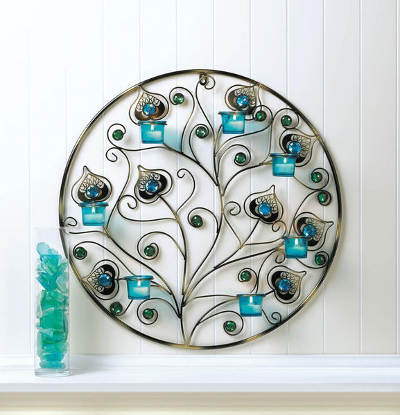 PEACOCK PLUMES CIRCULAR WALL SCONCE, , The Decor Source, The Decor Source
