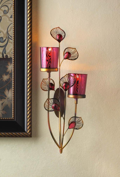 PINK PEACOCK WALL SCONCE, , The Decor Source, The Decor Source