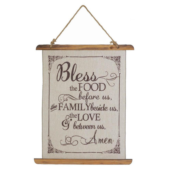 BLESS FOOD LINEN WALL ART, , The Decor Source, The Decor Source