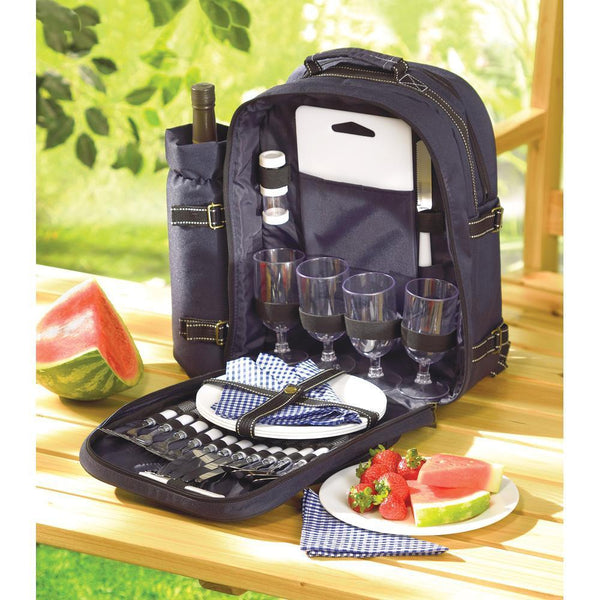"PICNIC BACKPACK-The Decor Source-Bag: 15"" x 6½"" x 17"" high.-Plastic and polyester.-The Decor Source"