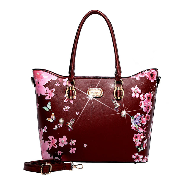 Hummingbird Bloom Scratch & Stain Resistant Top-Handle Bag - Brangio Italy Co.