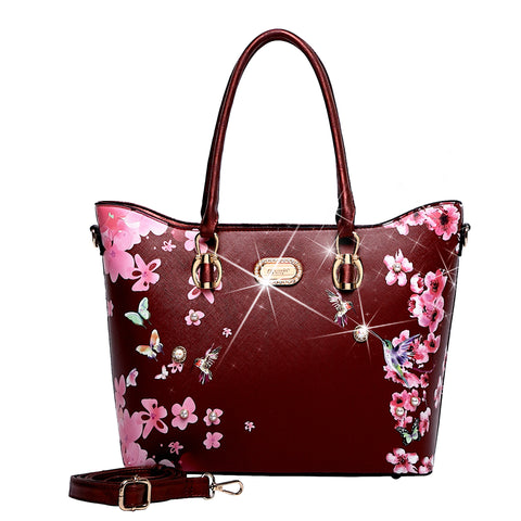 Hummingbird Bloom Scratch & Stain Resistant Top-Handle Bag