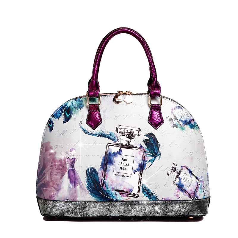 Arosa Fragrance Dome Vintage Hollywood Retro Graphic Handbag - Brangio Italy Collections