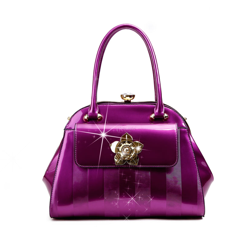 Floral Accent High-end Fashion Purses and Handbags - Brangio Italy Collections