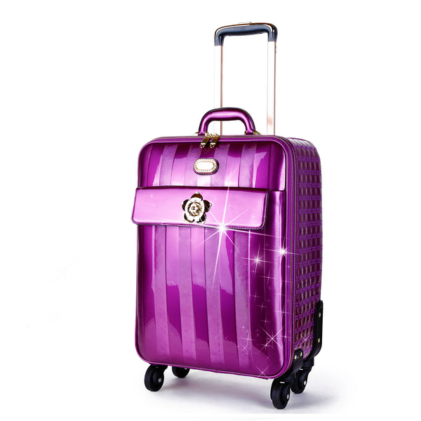 Floral Accent Light Weight Spinner Luggage - Brangio Italy Collections