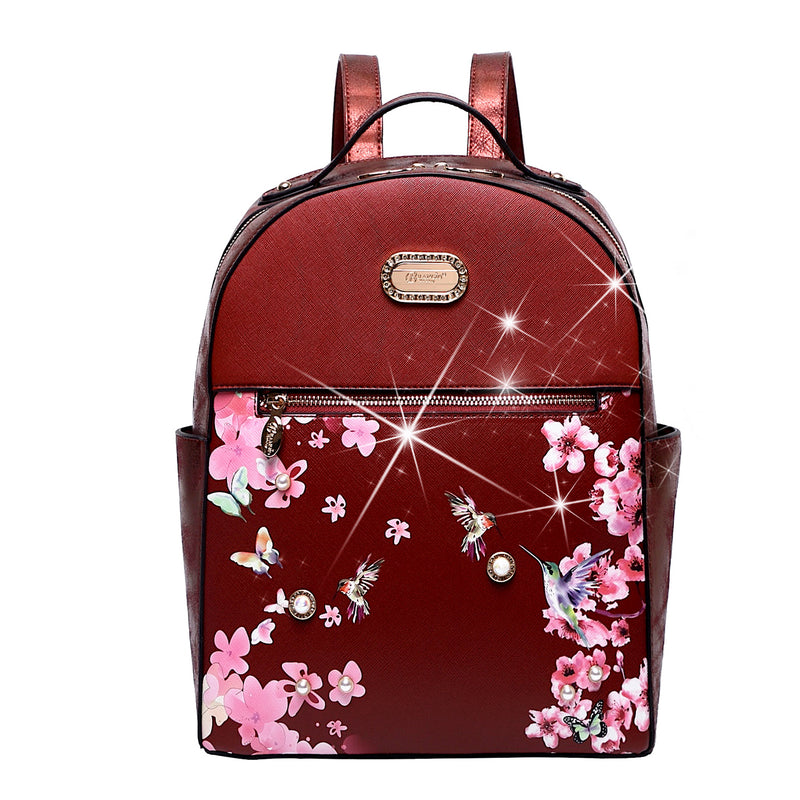 Hummingbird Crystal Laced Scratch & Stain Resistant Womens Backpack - Brangio Italy Co.